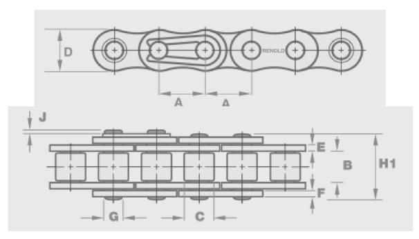 16B-1 Simplex Chain Renold 10 Foot Box image 2