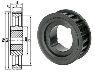 112-5M-15 Timing Pulley Taper Bore image 2