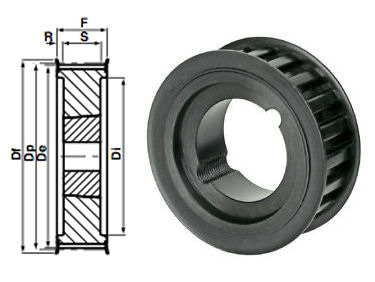 29-14M-40 Timing Pulley Taper Bore image 2