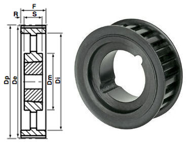 90-14M-55 Timing Pulley Taper Bore image 2