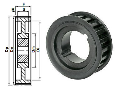 80-14M-170 Timing Pulley Taper Bore image 2