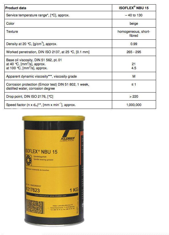 Kluber Isoflex NBU15 Spindle Bearing Grease 1kg image 2