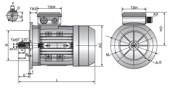 TECA IE1 Motor 0.75kW 2 Pole 3 Phase B5 Flange Mounted 80 Frame image 2