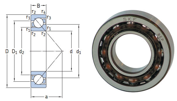 7219BEP SKF Single Row Angular Contact Bearing 95x170x32 image 2