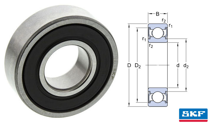 626-2RSH SKF Sealed Deep Groove Ball Bearing 6mm Bore image 2