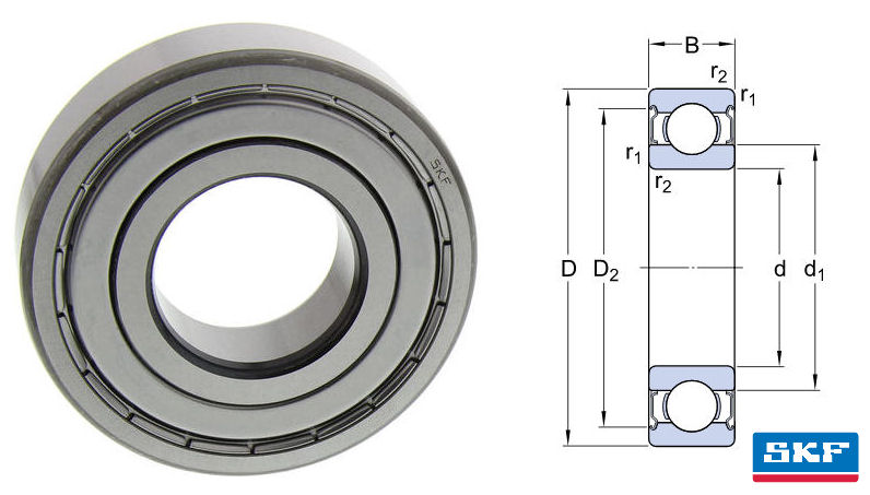 629-2Z SKF Shielded Deep Groove Ball Bearing 9mm Bore image 2