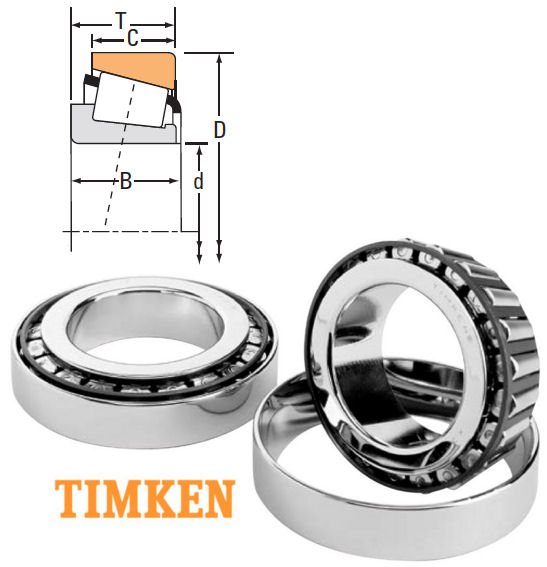 07087X/07196 Timken Tapered Roller Bearing 22.225x50.005x17.526mm image 2