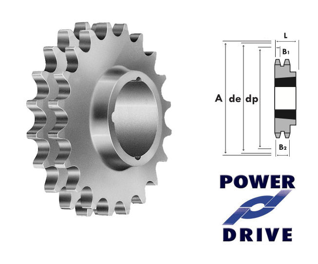 15 Tooth 08B Duplex Taper Sprocket to suit 1/2 Inch Pitch Chain image 2