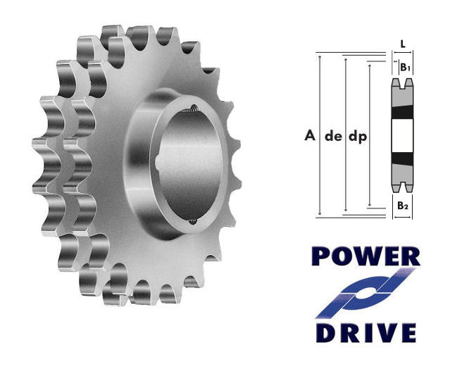 15 Tooth 12B Duplex Taper Sprocket to suit 3/4 Inch Pitch Chain image 2