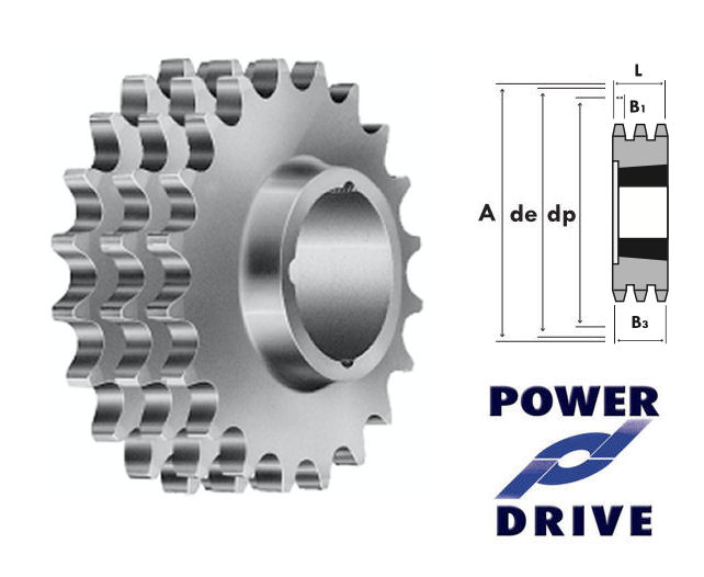 21 Tooth 06B Triplex Taper Sprocket to suit 3/8 Inch Pitch Chain image 2