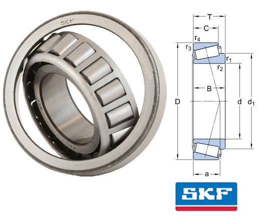 33122 SKF Tapered Roller Bearing 110x180x56mm image 2