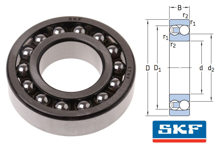1301ETN9 SKF Self Aligning Ball Bearing 12x37x12mm image 2