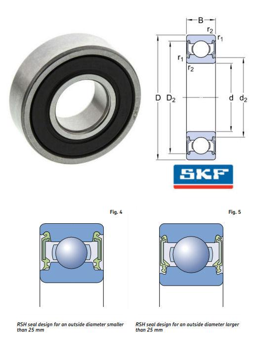 6205-2RSH SKF Metric Sealed Deep Groove Ball Bearing image 2