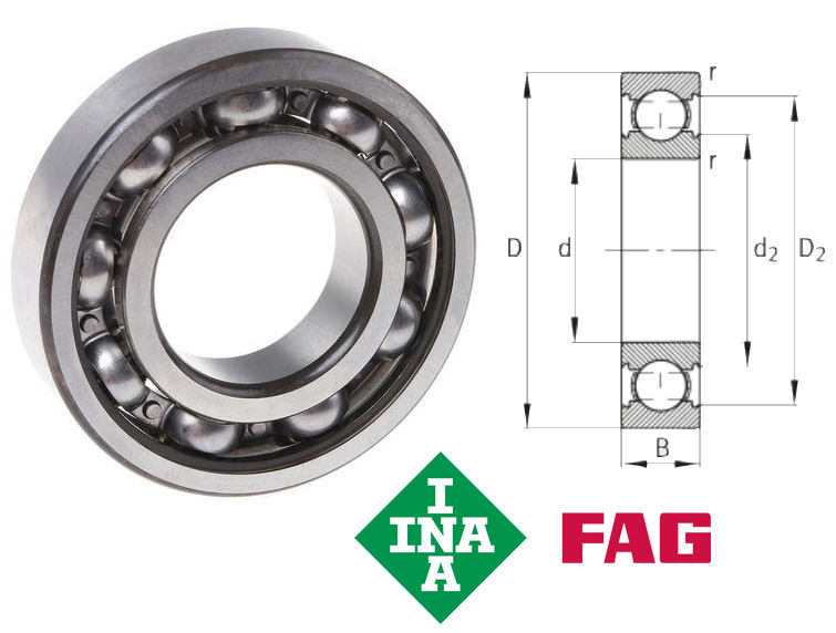6205-C3 FAG Metric Open Deep Groove Ball Bearing image 2