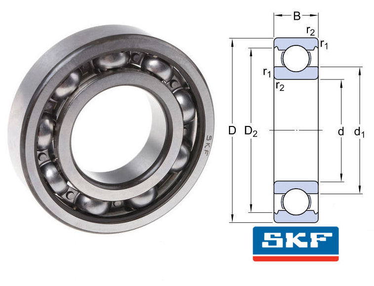 6306/C3 SKF Metric Open Deep Groove Ball Bearing image 2