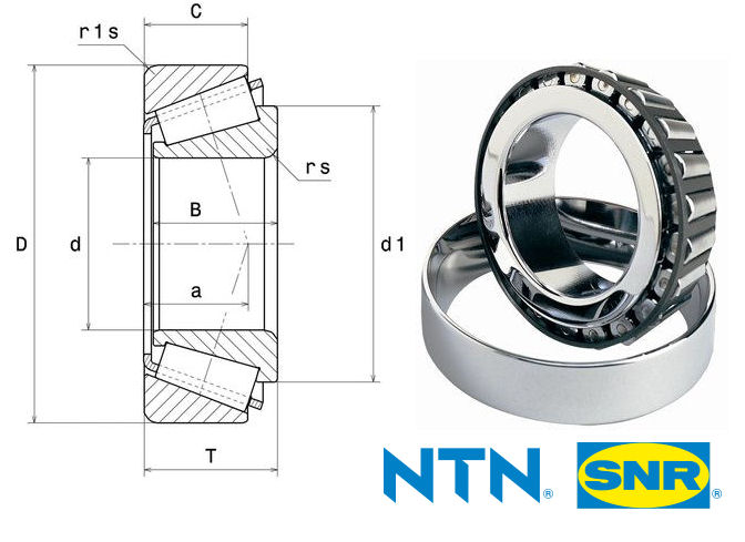 30205 NTN Tapered Roller Bearing image 2