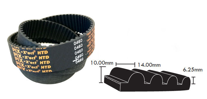 1750-14M-55 PIX HTD Timing Belt 55mm Wide 14mm Pitch 125 Teeth image 2