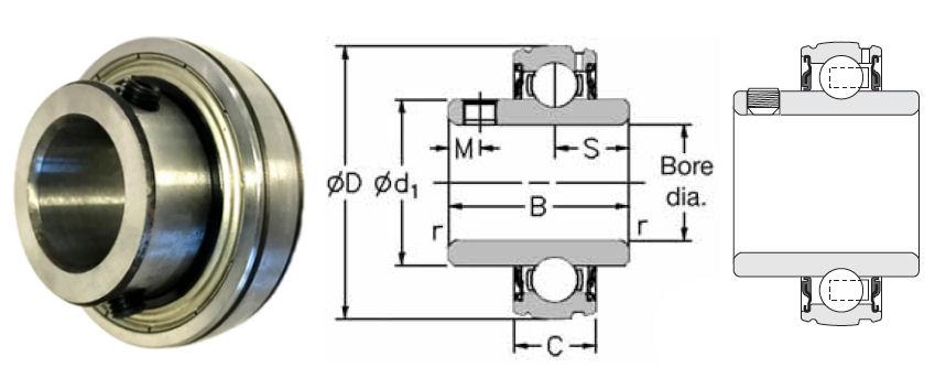 1030-1.3/16G RHP Spherical Outside Bearing Insert 1.3/16 inch Bore image 2