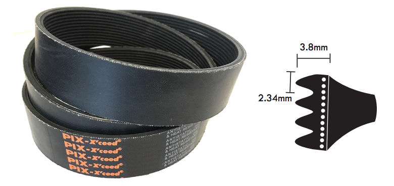 PJ965/380PJ PIX J Section Multi Ribbed Poly V Belt 965mm/38 inch Long image 2