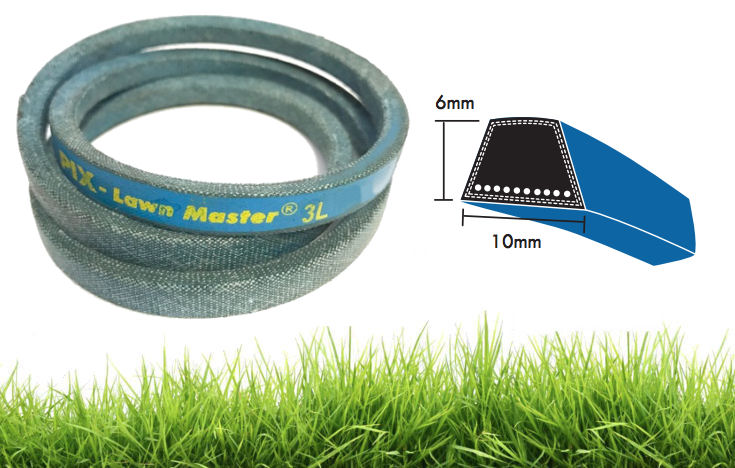 3L340K PIX Lawn Master 10x6mm Blue Dry Cover Kevlar Wrapped V-Belt image 2