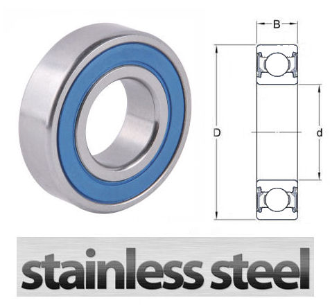W6210 2RS Stainless Steel Sealed Deep Groove Ball Bearing 50x90x20mm image 2