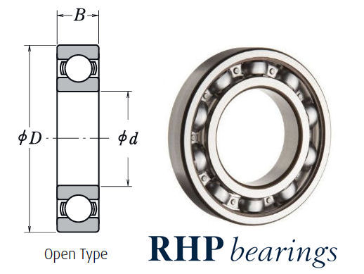MJ1.1/2J RHP Imperial Open Deep Groove Ball Bearing 1.1/2x3.3/4x15/16 inch image 2