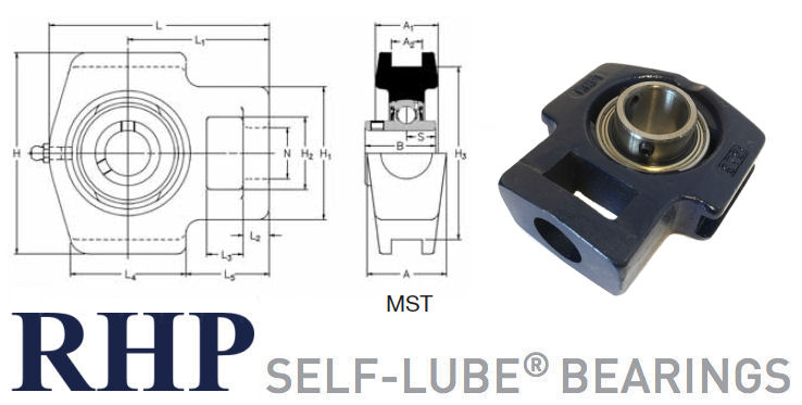MST1.3/8 RHP Cast Iron Take-Up Bearing Unit 1.3/8 inch Bore image 2
