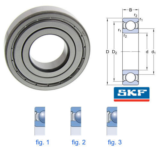 16003-2Z SKF Metric Shielded Deep Groove Ball Bearing 17x35x8mm image 2