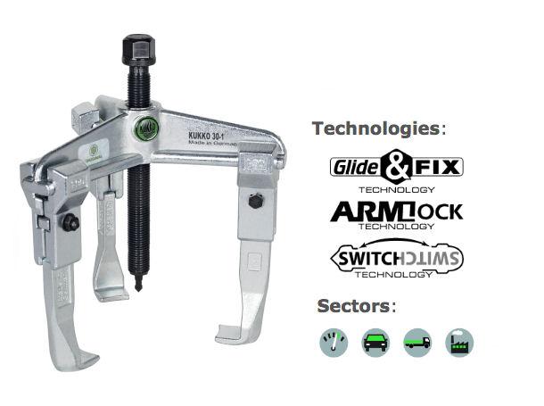 30-1 Kukko 3-Arm Universal Puller 90x100mm image 2