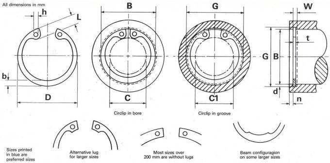 Internal Circlip 62mm Internal Circlips Metric - Bearing King