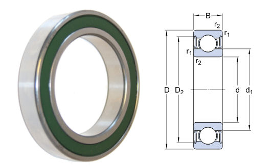 61905-2RZ SKF Low Friction Sealed Deep Groove Ball Bearing 25x42x9mm image 2