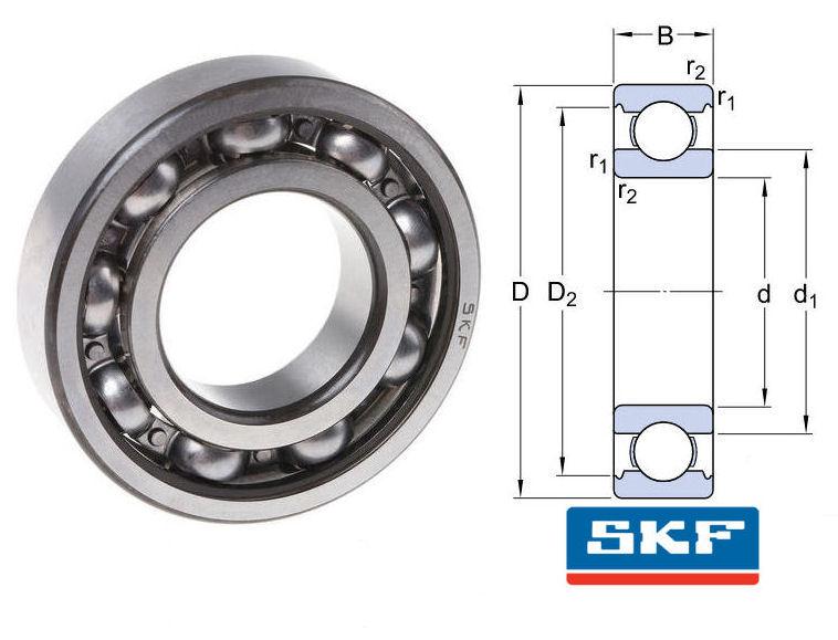 6005 SKF Open Deep Groove Ball Bearing 25x47x12mm image 2