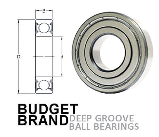6005 ZZ Budget Brand Shielded Deep Groove Ball Bearing 25x47x12mm image 2