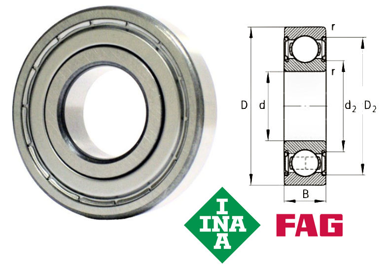 6005-2Z-C3 FAG Shielded Deep Groove Ball Bearing 25x47x12mm image 2