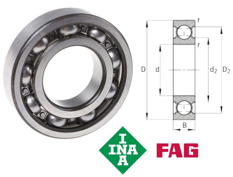 6005-C3 FAG Open Deep Groove Ball Bearing 25x47x12mm image 2