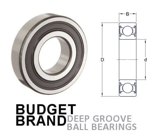 6007 2RS Budget Brand Sealed Deep Groove Ball Bearing 35x62x14mm image 2