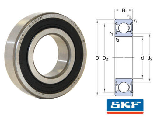6301-2RSH/C3GJN SKF Sealed High Temperature Deep Groove Ball Bearing 12x37x12mm image 2