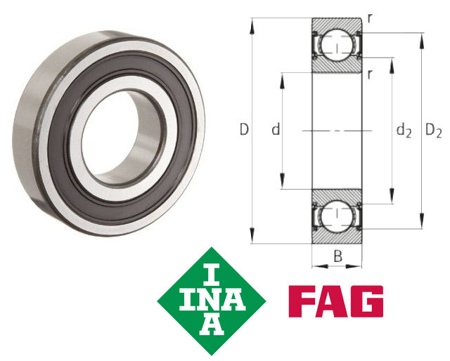 6011-2RSR FAG Sealed Deep Groove Ball Bearing 55x90x16mm image 2