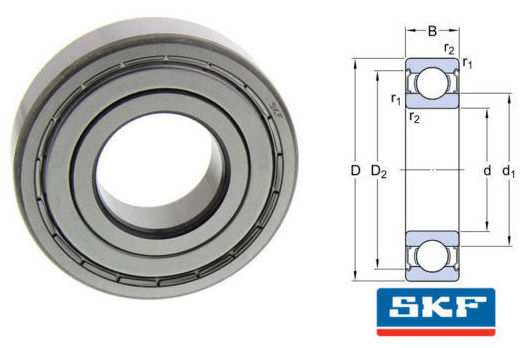 6011-2Z SKF Shielded Deep Groove Ball Bearing 55x90x18mm image 2