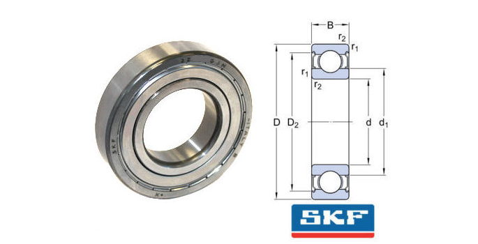 6201-2Z/GJN SKF Shielded High Temperature Deep Groove Ball Bearing 12x32x10mm image 2