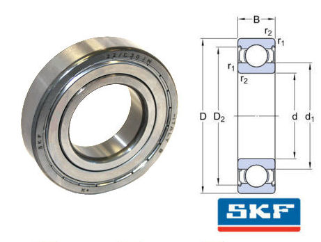 6204-2Z/C3GJN SKF Shielded High Temperature Deep Groove Ball Bearing 20x47x14mm image 2
