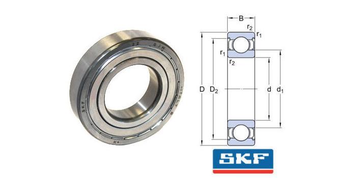 6205-2Z/GJN SKF Shielded High Temperature Deep Groove Ball Bearing 25x52x15mm image 2