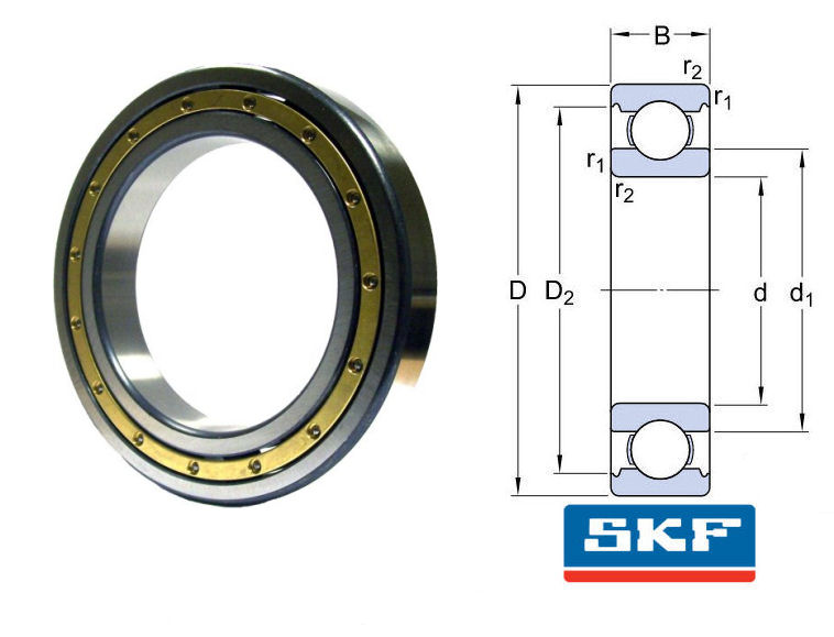 6213 M/C3 SKF Open Brass Caged Deep Groove Ball Bearing 65x120x23mm image 2