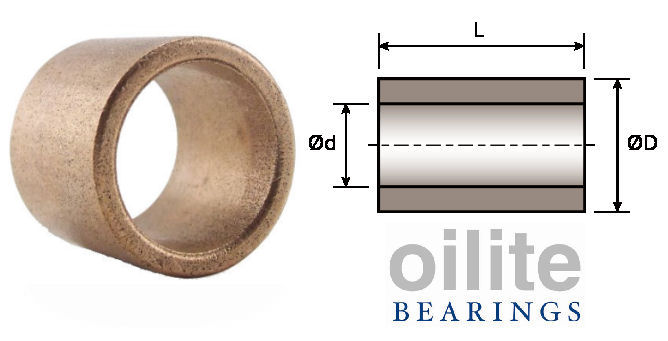 AS1022-20 Plain Oilite Bearing 10x22x20mm image 2