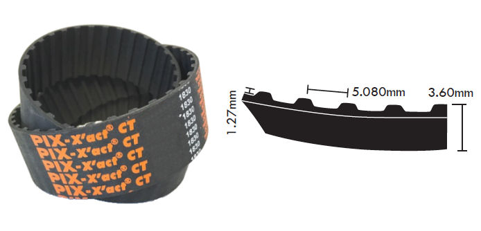 250XL100 PIX CT Timing Belt 25.4mm Wide 5.080mm Pitch 125 teeth image 2