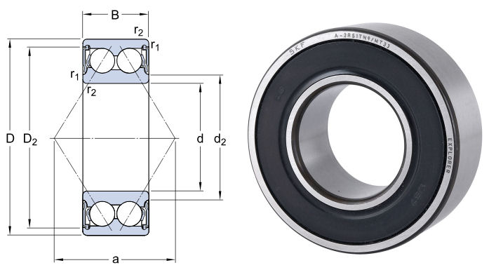 3206A-2RS1TN9/MT33 SKF Double Row Angular Contact Ball Bearing 30x62x23.8mm image 2