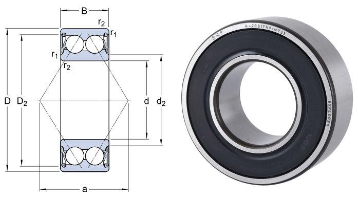3306A-2RS1TN9/MT33 SKF Double Row Angular Contact Ball Bearing 30x72x30.2mm image 2