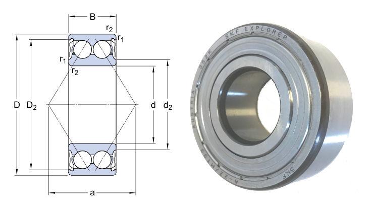 3200A-2ZTN9/MT33 SKF Double Row Angular Contact Ball Bearing 10x30x14mm image 2