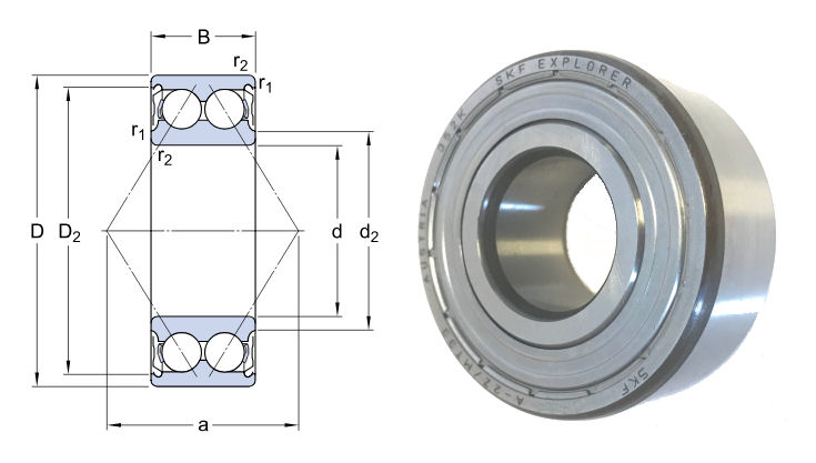 3214A-2ZTN9/MT33 SKF Double Row Angular Contact Ball Bearing 70x125x39.7mm image 2