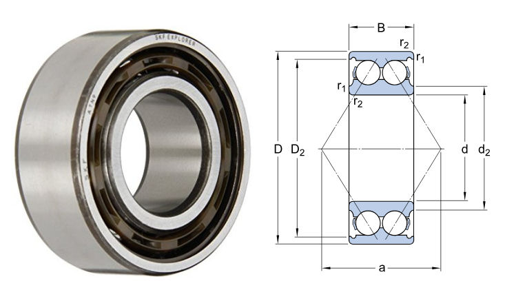 3308ATN9 SKF Double Row Angular Contact Ball Bearing 40x90x36.5mm image 2